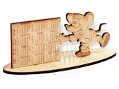 календарь из фанеры, мышь 2008, лазерная гравировка изделий из дерева